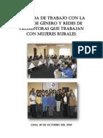 Jornada de Trabajo con la Mesa de Género y Redes de promotoras que trabajan con mujeres rurales