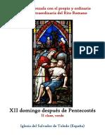 XII Domingo Despues de Pentecostes. Propio y Ordinario de la santa misa