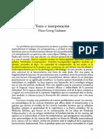 Texto e interpretación. Gadamer