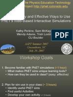 Phet Workshop AAPT Summer 2007