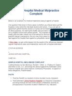 Sample Hospital Medical Malpractice Complaint