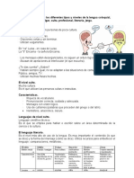Diferenciación de los diferentes tipos y niveles de la lengua coloquial