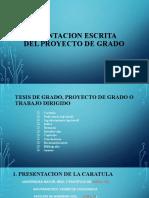 PRESENTACION ESCRITA DEL PROYECTO DE GRADO