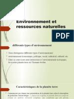Environnement et ressources naturelles