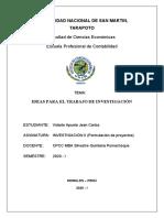 Investigacion II - Ideas para el trabajo de investigacion