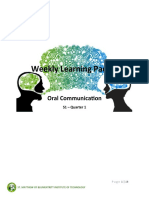 1 Weekly Learning Packet - Oral Com