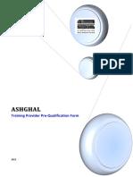 Ashghal Training Provider Pre-Qualification Form