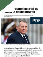 Un haut-commissariat au Plan à la sauce Bayrou - Libération