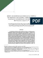EFEITO DE SUBSTÂNCIAS HÚMICAS NA CINÉTICA DE ABSORÇÃO DE POTÁSSIO, CRESCIMENTO DE PLANTAS E CONCENTRAÇÃO DE NUTRIENTES EM Phaseolus vulgaris L.(1)