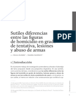 Sutiles diferencias entre homicidio en grado de tentativa y lesiones y abuso de armas