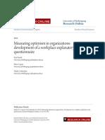 Measuring optimism in organizations
