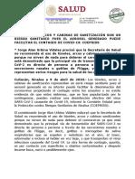09-04-2020 LOS TUNELES, ARCOS Y CABINAS DE SANITIZACION SON UN RIESGO SANITARIO
