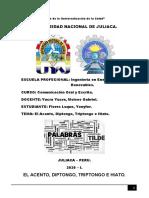 EL ACENTO, DIPTONGO, TRIPTONGO E HIATO.
