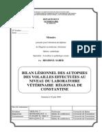 Bilan Lésionnel Des Autopsies Des Volailles
