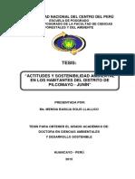 """tesis ACTITUDES Y SOSTENIBILIDAD AMBIENTAL EN LOS HABITANTES DEL DISTRITO DE PILCOMAYO - JUNÍN"""""""