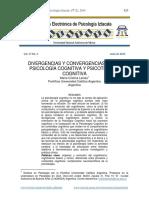 Divergencias y convergencias entre psicología cognitiva y terapia cognitiva