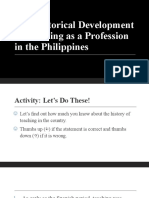 The Historical Development of Teaching as a Profession in the Philippines