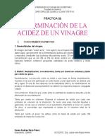 Determinacion de Acidez Del Vinagre