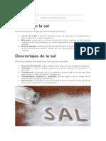 Ventajas y desventajas de la sal
