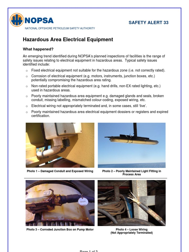 Nopsa Safety Alert 33 Hazardous Area Electrical Equipment Conduit For Safe Wiring Explained By An
