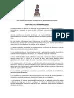 """Comunicado de Murieta sobre las """"no fiestas"""" 2020"""