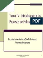 Tema 4 - Introduccion a Los Procesos de Fabricacion (Diapositivas)