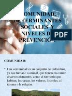 COMUNIDAD, DETERMINANTES SOCIALES  Y NIVELES DE PREVENCIÓN