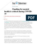 funding for mental health is critical during covid-19