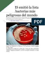 La OMS emitió la lista de las bacterias más peligrosas del mundo
