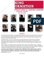 MORE  MOST WANTED SEEKING INFORMATION Search FBI Search FBI  MOST WANTED  Ten Most Wanted Fugitives Fugitives Operation Legend Terrorism Kidnappings/Missing Persons Seeking Info Parental Kidnappings  More Seeking Information Law Enforcement Assistance ARSON AND DESTRUCTION AT JUSTICE CENTER Portland, Oregon May 29, 2020