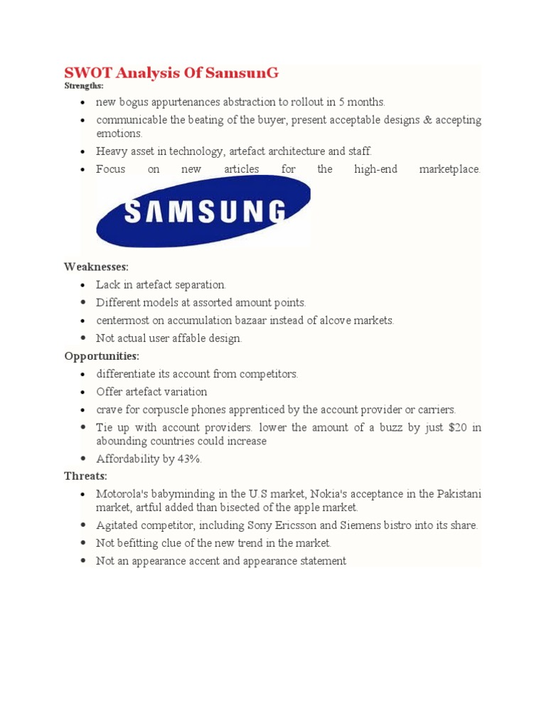 swot analysis of samsung samsung competition
