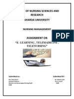E-LEARNING,TELEMADICIN,TELE NURSING ASSIGNMENT