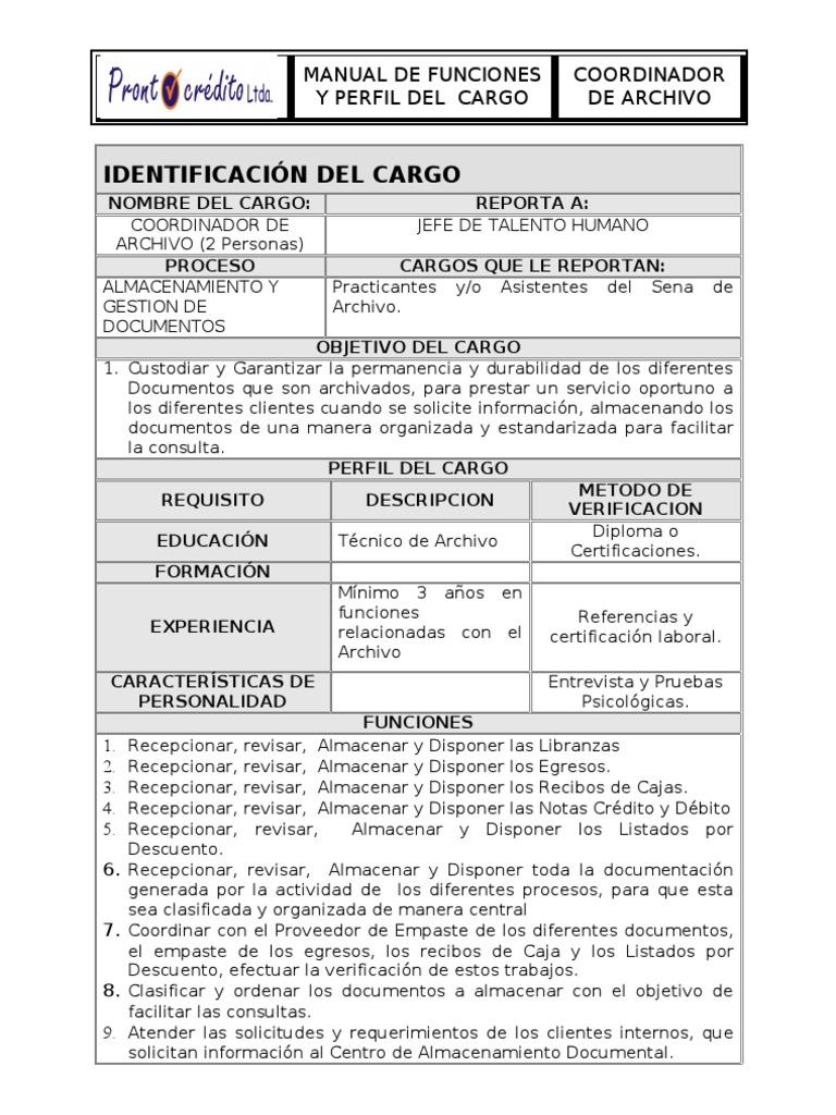 Manual funciones coordinador de archivo for Manual de funciones y procedimientos de un restaurante