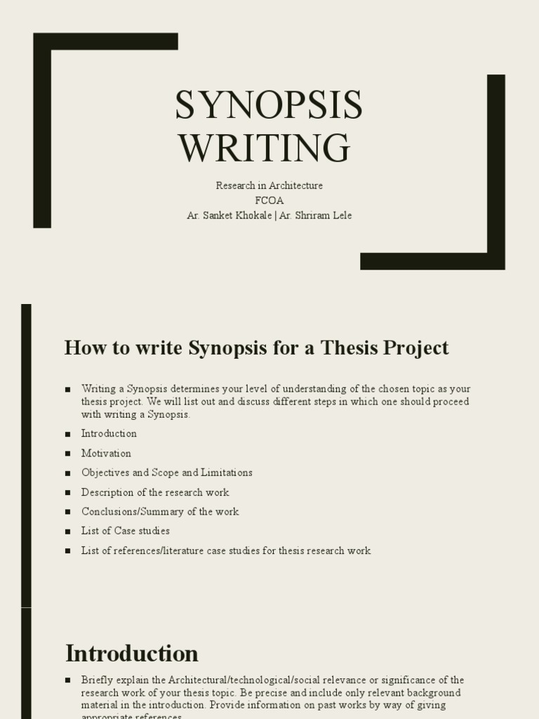 Synopsis Writing Guidelines & Samples  PDF  Thesis  Case Study