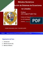 Resolución de Sistemas de Ecuaciones no Lineales -MN FISI-UNMSM 2018-I