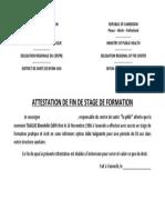 ATTESTATION DE FIN DE STAGE DE FORMATION