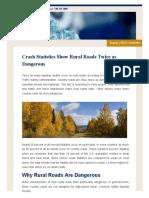 Crash Statistics Show Rural Roads Twice as Dangerous