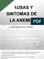 causas y sintomas de la anemia