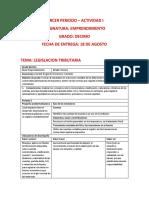 GRADO DECIMO - EMPRENDIMIENTO - ACTIVIDAD I - LLANEDT ECHEVERRY - LEGISLACION TRIBUTARIA - TERCER PERIODO docx