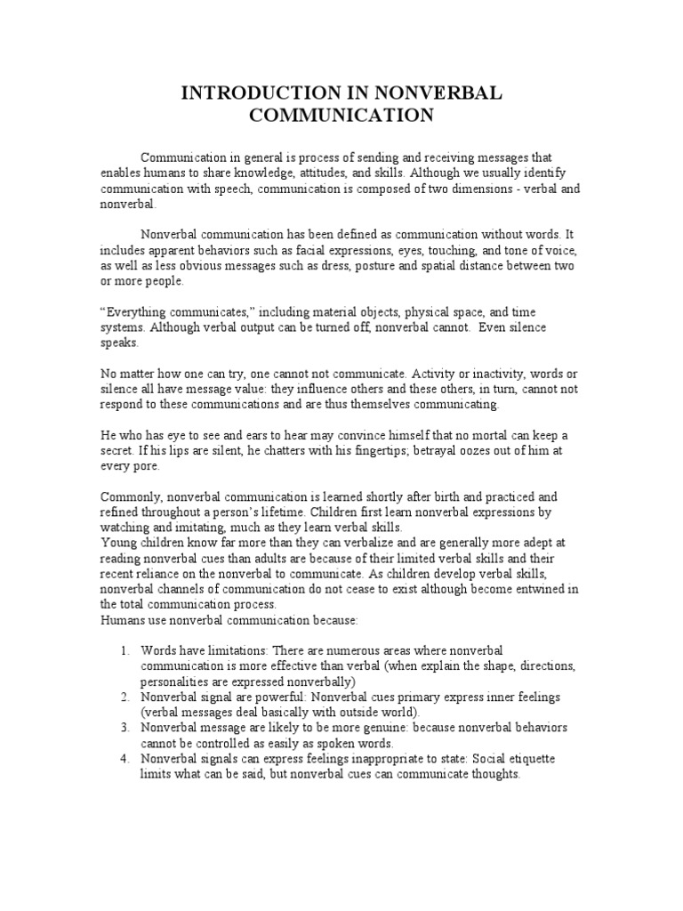 Essay on nonverbal communication in classroom nonverbal