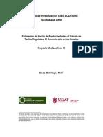 Estimacion Del Factor de Productividad en El Calculo de Tarifas Reguladas