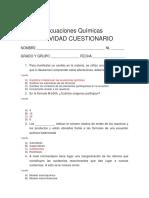 CUESTIONARIO. Ecuaciones Químicas CON SOLUCIONES