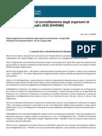 Requisiti aggiuntivi di accreditamento degli organismi di certificazione - 29 luglio 2020 [9445086]