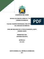 PLAN DE  PASANTÍA REALIZADA EN LA FISCALÍA MUNICIPAL SANTO DOMINGO OESTE, ----- Leonardo Bautista.docx