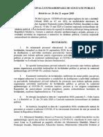 Hotărâre nr. 26 din 21 august 2020 a Comisiei naționale extraordinare de sănătate publică-