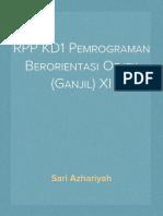 RPP KD1 Pemrograman Berorientasi Objek (Ganjil) XI