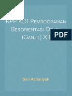 RPP KD1 Pemrograman Berorientasi Objek (Ganjil) XII