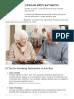 10 ways to increase activity participation