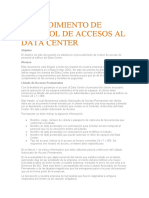PROCEDIMIENTO DE CONTROL DE ACCESOS AL DATA CENTER