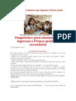 Diagnóstico para alumnos que ingresan a Primer grado de